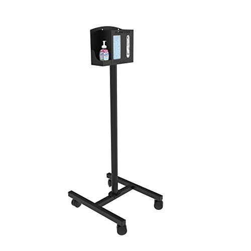 Versa Products Mobile Respiratory Hygiene Sanitation Station | USA Made | 3 Compartments | Rolling Stand | PPE | Heath Care | Black