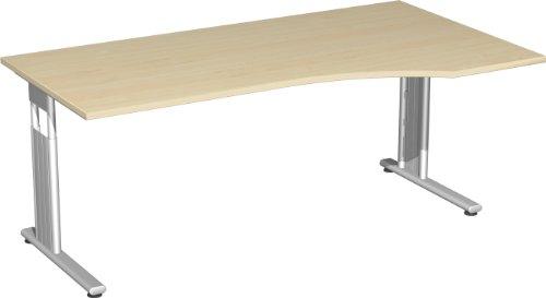Gera Möbel S-617305-AH/SI PC-Schreibtisch rechts Lissabon, 180 x 100 x 68-82 cm, ahorn/Silber