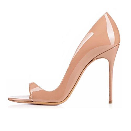 EDEFS Damen Peep Toe Pumps Offene High Heels Lack Stilettos Schuhe Beige Größe EU43