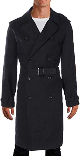 LONDON FOG Men's Plymouth Twill Belted Double-Breasted Iconic Trench Coat, Black, 42S