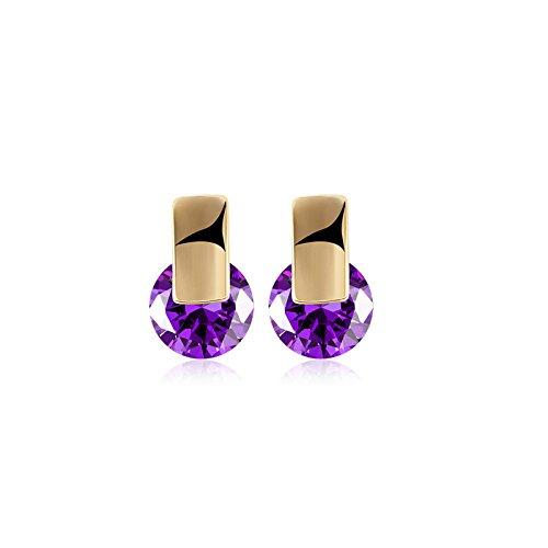 AMDXD JoyeríaSeñoras Chapado en Plata Pendientes de Aro Zirconia Cúbica Rectángulo Redondo Púrpura Pendientes para Mujer 0.8X1.3CM