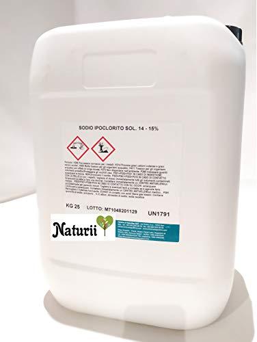 Naturii Cloro Liquido Ipoclorito di Sodio 14/15% Disinfettante Multiuso Sanificante Liquido Solubile per Ambienti e Superfici Tanica 25 kg