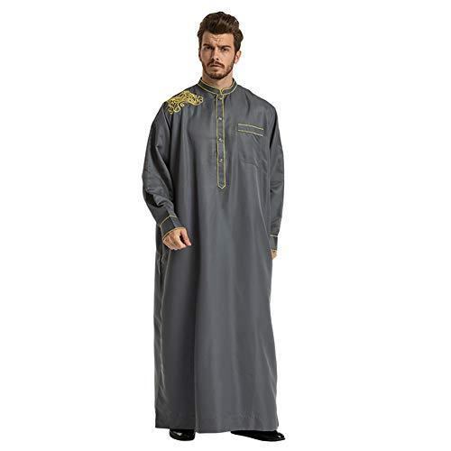 Ansemen Musulmanes Hombres Islámico Árabe Kaftan Oriente Medio Túnicas Manga Larga Suelta Dubai Arabia Jubba Thobe Dishdasha
