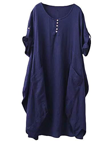 Lavnis Damen Leinen T-Shirt Tunika Kleid Rundhals Kurzarm Midi Kleid, XXL, DunkelBlau