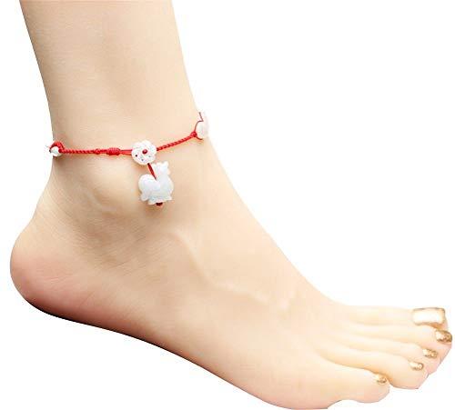 aimaoer Jadeite Fußkette Zodiac Rot Seil Mode Männer Und Frauen Paar Modelle, Können Sie Die Größe, Die Größe Der Bestellschein Anpassen.Huhn, 19-26 cm