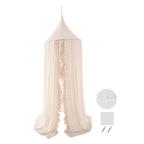 Ciel de lit pour filles - Ciel de lit en mousseline de soie avec pompons - Moustiquaire - Ciel de lit de princesse - Filet de jeu pour enfants - Tente dôme ronde