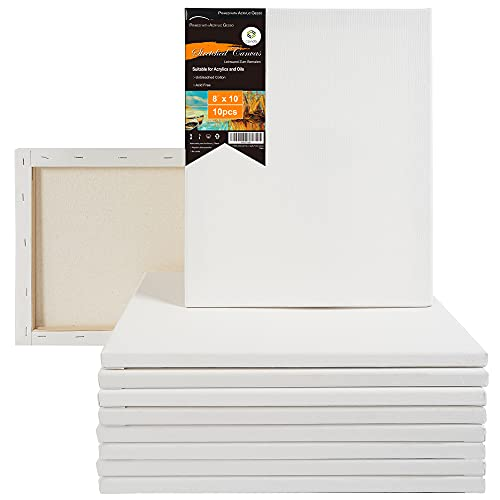 CONDA 8x10 inch Stretched Canvas for Painting, Pack of 10, 100% Cotton, 5/8 Inch Profile Value Bulk Pack for Acrylics, Oils Painting