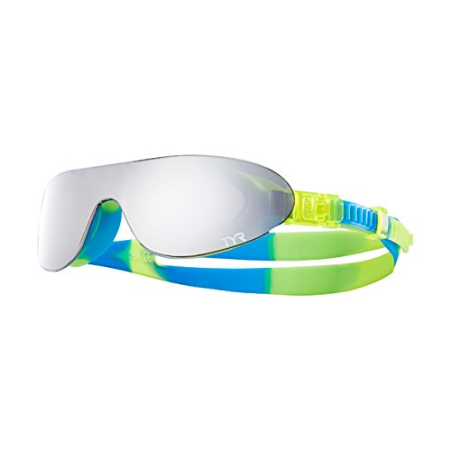 TYR Kids SwimShades Mirrored Googles, Silver/Yellow/Blue, One Size