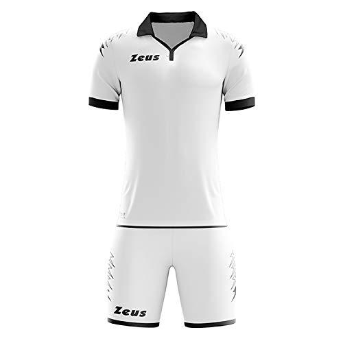 Kit Zeus Scorpion Uomo Completino Completo Calcio Calcetto Uomo Muta Torneo Scuola Sport Bianco Nero (M)