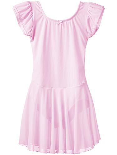 Dancina - Leotardo Vestido de Baile en Algodón y Lycra para Niña 8-9 años Rosa