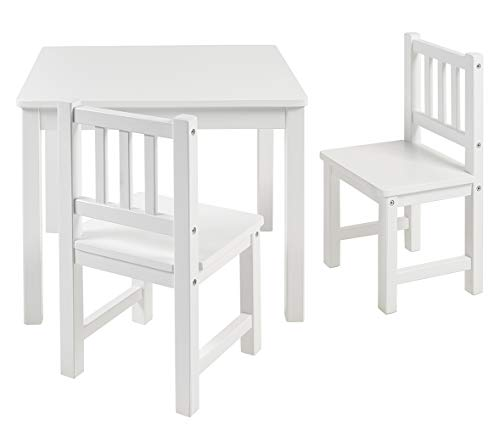 BOMI Kindertisch mit 2 Stühlen Amy | abgerundete Ecken und Kanten | aus Kiefer Massiv | Holz sitzgruppe Kind | für Kleinkinder, Mädchen und Jungen Weiß