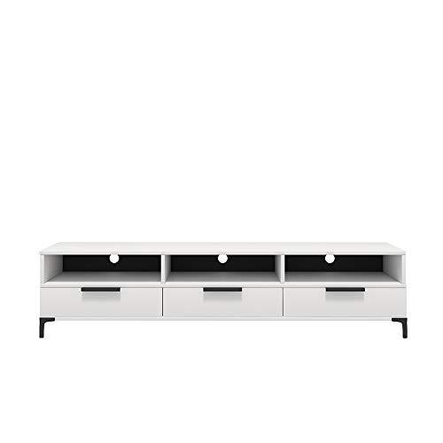Selsey RIKKE - TV-Lowboard/TV-Tisch mit 3 offenen Fächern, Klappen und Metallfüßen, 160 cm breit (Weiß Matt/Weiß Hochglanz ohne LED)
