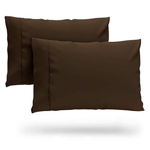 Cosy House Collection Premium Bamboo Pillowcases - Standard, Chocolate Pillow Case Set of 2 - Ultra Soft & Cool Hypoallergenic Blend from Natural Bamboo Fiber