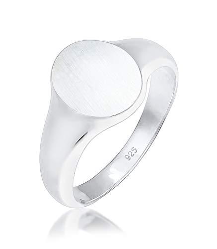 Kuzzoi Siegelring Herrenring oval matt, massiv 12 mm breit in 925 Sterling Silber, Basic Silberring poliert, Ring für Männer in der Ringgröße 60, 0611182118_60