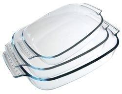 Pyrex Borosilicate Glass Rectangular set of 3 Roasters with Easy grip handles