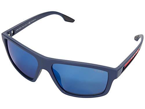 Prada 0PS 02XS, (Marco de goma azul/lente azul espejo azul), Talla única