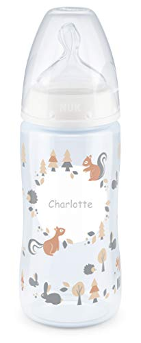 NUK First Choice Babyflasche mit persönlicher Gravur, kiefergerechter Silikon-Trinksauger, 300ml, 6-18 Monate, weiß