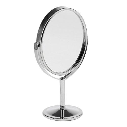 Sharplace 3 Pouces Rotatif Miroir Sur Pied à Double Face Normale et Grossissante pour Maquillage - Cadeau Femme - Argent