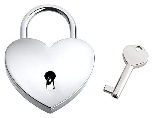 Liebesschloss In Herzform | Herzschloss Mit Schlüssel & Samtsäckchen Als Liebesgeschenk | Silber | Ohne Gravur
