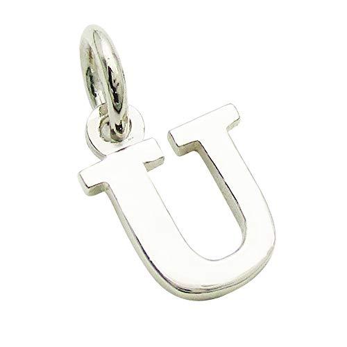 小さなアルファベットのチャーム (1) 「U」 ステンレスチェーンセット ゴシック体 ネックレス シルバー925 60cm