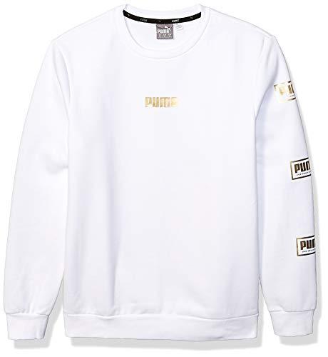 PUMA Men's Holiday Pack Crew Sweat Shirt, White Fleece, X-Large