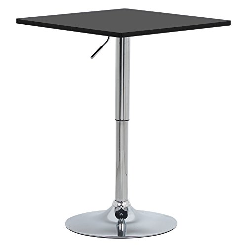 WOLTU BT03sz Table de Bar en MDF avec Pied,Table carrée Hauteur réglable,Noir