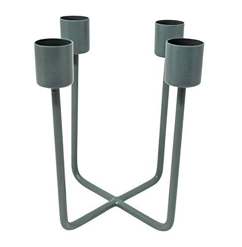 LaLe Living Kerzenhalter - Quattra - aus Eisen in Petrol, 12,5x14,5cm, geeignet für 4 Stabkerzen als scandic Deko in Allen Räumen oder als moderner Adventskranz Weihnachtsdeko