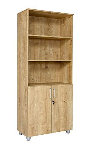 Aktenregalschrank oben offen 80 cm x 40 cm x 190 cm Saphir Eiche 3 Ordnerhöhen Bücherregal Bücherschrank