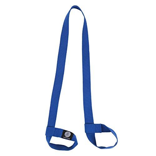 Yamkas Yogamatte Tragegurt Verstellbar Schlaufen • Bio Baumwolle • Verstellbarer Trageriemen zum Transport • Matte Trageband for All Yoga Mat Sizes • Blau