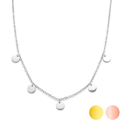 Kim Johanson Edelstahl Damen Halskette *Coins* in Silber, Gold & Roségold mit 5 runden Plättchen Boho Schmuck Kette verstellbar inkl. Schmuckbeutel (Silber)