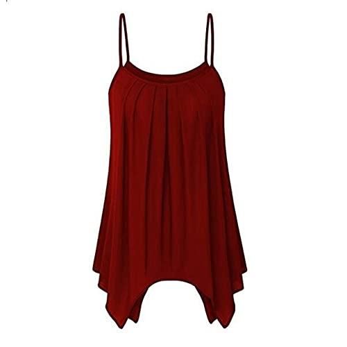 Camiseta Sin Mangas Mujer Gran Tamaño Color Sólido Cuello Redondo Dobladillo Irregular Plisado Mujer Camisola Largo Dulce Luz De Moda Exquisita Fiesta Nuevas Mujer Chalecos Sueltos D-Red XL