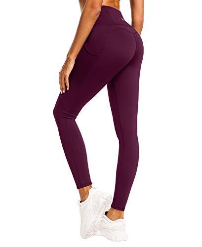 QUEENIEKE Damen Yoga Leggings Mesh Mittlere Taille 3 Handytasche Gym Laufhose Farbe Dunkelrosa rot Größe S(4/6)