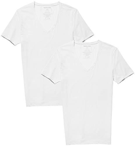 Tommy John Men's Cotton Basics Deep V Neck Shirt - 2 Pack - Stay Tuck Design - Soft Slim Fit Comfortable Undershirts Tee (White, Small)