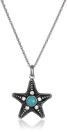 Sterling Silver Stabilized Turquoise Oxidized-Inlay Starfish Pendant Necklace, 18'