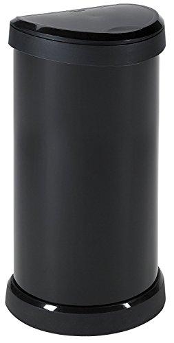 Curver One Touch 176455- Recipiente de plástic, 40 L, color negro con efecto metálico