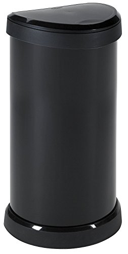 Curver Metal Effect Plastic One Touch Deco Bin, Black