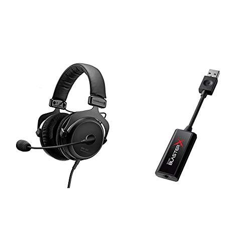beyerdynamic MMX 300 Premium geschlossener Over-Ear Gaming-Headset (2nd Generation) mit Mikrofon & Creative Sound Blaster X G1 Portable Soundkarte (mit 7.1 und Kopfhörerverstärker)