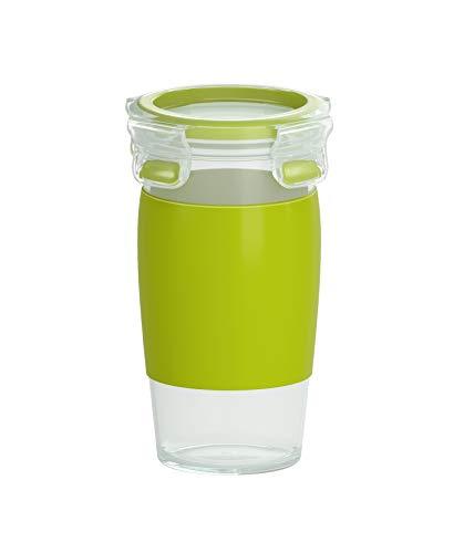 Emsa N1071500 Clip&Go Smoothie Mug (Fassungsvermögen: 450 ml, Rund) transparent/hellgrün