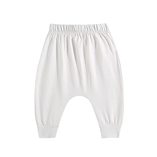 Putybudy Cotton Baby Fat Pants Casual Pants with Elastic Waist Wide Crotch for Baby Boys Girls- Moonlight White, Pants Length 45CM