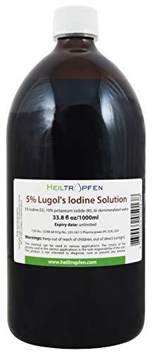 1000 ml Soluzione di iodio Lugol 5% | Formulazione liquida al 15% | Realizzato con il 5 per cento di iodio e il 10% ioduro di potassio | Heiltropfen®