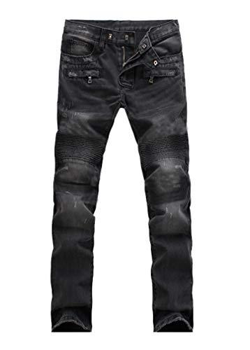 Lavnis Men's Slim Fit Vintage Distressed Motorcycle Jeans Runway Biker Denim Jeans Style 5-Black-31