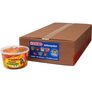 8 große Dosen Haribo Aktionspaket Frösche,Schlümpfe,Happy Cola,Gurken,Happy Cherrie,Riesen Erdbeeren,Fruchtkracher,Fruchtschnecken