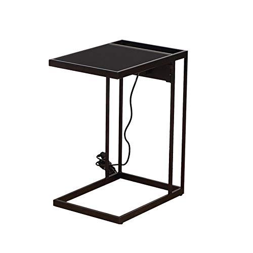 Tabellen HUO Industriële Zijkant, Mobiele Snack Voor Koffie Laptop Tablet, Met Voeding Hout Look Accent Meubels Met Metalen Frame