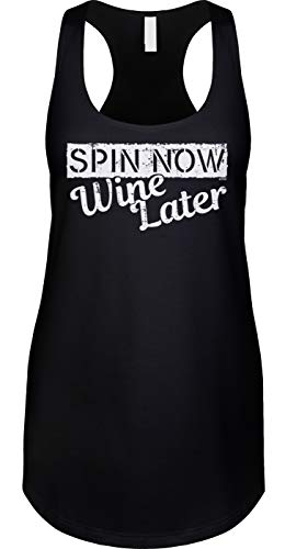 Spin Now Wine Later Ladies Tank, M, Black