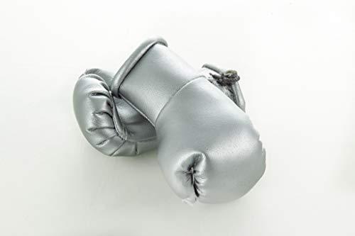 Sportfanshop24 Mini Boxhandschuhe Silber silbern, 1 Paar (2 Stück) Miniboxhandschuhe z. B. für Auto-Innenspiegel