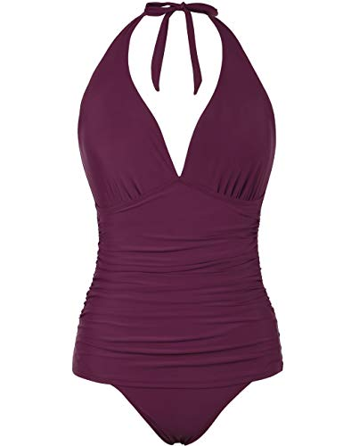 Hilor Women's Halter One Piece Swimsuits Shirred Tummy Control Swimwear Skirted Bathing Suits Monokinis Burgundy 10