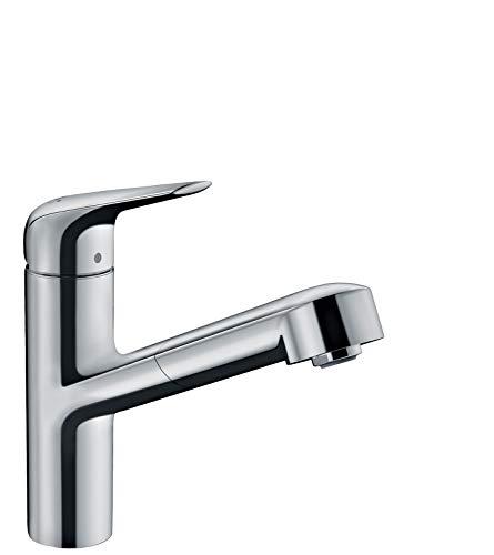 hansgrohe Küchenarmatur (Wasserhahn Küche 120° schwenkbar, hoher ausziehbarer Auslauf 150mm, Standardanschlüsse) Chrom