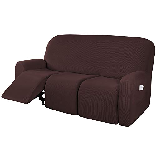 H.VERSAILTEX Super Stretch Recliner Sofa Covers Reclining Couch Covers Recliner Sofa Slipcovers 3 Seater Furniture Covers Thick Soft Jacquard Fabric Form Fitting and Easy Put On, Chocolate