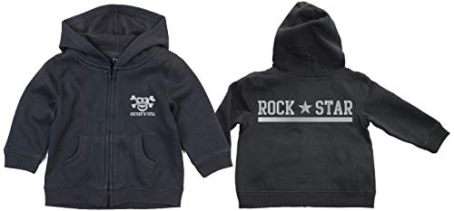 Racker-n-Roll Rock Star Silver Schnullerpirat Zipped Hoodie Black