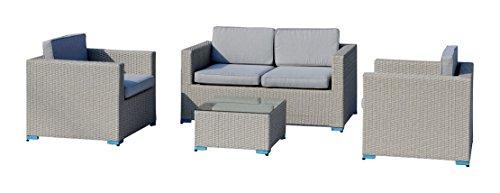 LW WL Zeo Set canapé, 2 fauteuils et Table, Blanc cassé, 80 x 146 x 65 cm